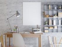 Modellaffisch på en vit tegelstenvägg Stock Illustrationer