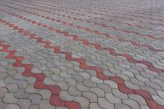 Modellato pavimentando le mattonelle, fondo del pavimento del mattone del cemento Fotografia Stock Libera da Diritti