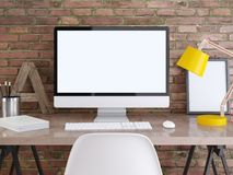 Modellbildskärm på en tabell med affischer på en tegelstenvägg Stock Illustrationer