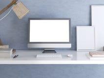 Modellbildskärm på skrivbordet i hipsterstil Vektor Illustrationer