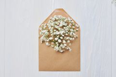 Modellbokstav med blommor för dag för St-valentin` s i lantlig stil med stället för din text, lekmanna- lägenhet, foto för bästa  Royaltyfri Bild