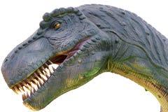 Modelldinosauriehuvud på vit bakgrund Arkivfoton