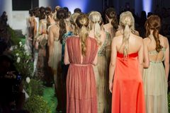 Modelle am Ende der Modeschau Lizenzfreie Stockfotografie