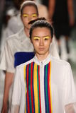 Modelle von Daniel Silverstain-Weg an DSW fördert 20. Jahrestags-frische Gesichts-in Mode Rollbahn-Frühling 2016 Gen Arts Lizenzfreie Stockfotos