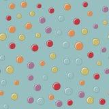 Modellen av de kulöra bollarna på en blå bakgrund med pastellfärgade färger Fotografering för Bildbyråer