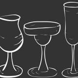 Modellen av exponeringsglas för coctailar royaltyfri illustrationer
