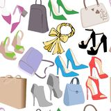 Modellen av modekvinnor hänger löst handväskor och sommarskor Realistiska påsar och sömlös modell för skor royaltyfri illustrationer