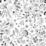Modellen eller bakgrund för blomma gör tunnare den sömlösa blom- stock illustrationer