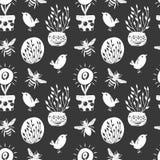 Modellen för handen för skogen blommar den enkel sketh drog sömlösa med fåglar, öl, hem För tapeter rengöringsdukbakgrund, textil vektor illustrationer