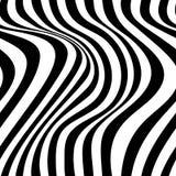 Modellen för op konst för den abstrakta vektorn fodrar den sömlösa med vinkande krulla Monokrom grafisk svartvit prydnad royaltyfri illustrationer