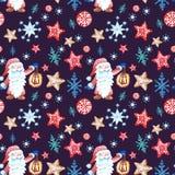 Modellen för utdragen festlig jul för handen smyckar den sömlösa i scandivanian stil med gnom, snöflingor och pepparkakakakor royaltyfri illustrationer