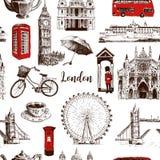 Modellen för vektorn för London skissar den arkitektoniska symboler handen drog sömlösa stock illustrationer