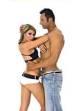 Modellen in het openbaren van kleding Royalty-vrije Stock Afbeeldingen