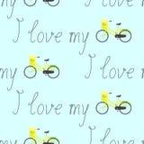 Modellen med älskar cyklar jag min bokstäver och Arkivfoton