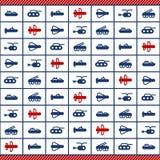 Modellen med blåa och röda militära maskiner sänker symboler för hälsningkort eller inpackning stock illustrationer