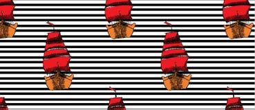 Modellen med skepp med RÖTT seglar på svart linje stock illustrationer