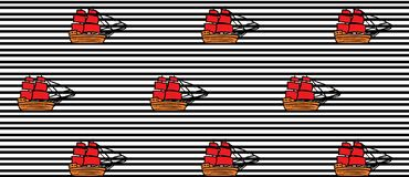 Modellen med skepp med RÖTT seglar på svart linje vektor illustrationer