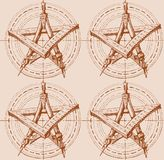 Modellen med stjärnan från de dra hjälpmedlen stock illustrationer