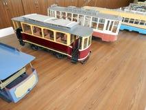 Modellen van trolleybussen, elektrische modellen van stad stock foto