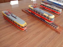 Modellen van trolleybussen, elektrische modellen van stad royalty-vrije stock fotografie