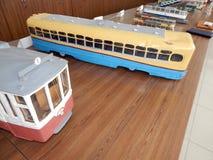 Modellen van trolleybussen, elektrische modellen van stad stock afbeelding