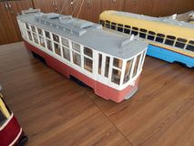Modellen van trolleybussen, elektrische modellen van stad stock fotografie