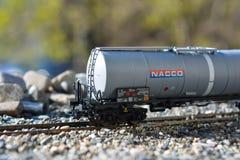 Modeller av järnvägarna Marklin, stor järnväg behållare NACCO Arkivfoto