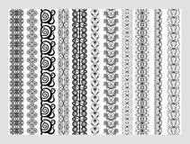 Modeller för beståndsdelar för indierHenna Border garnering i svartvita färger stock illustrationer