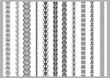 Modeller för beståndsdelar för indierHenna Border garnering i svartvita färger vektor illustrationer