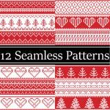 Modeller för jul för nordisk stilvektor som semaless inspireras av skandinavisk jul, festlig vinter i arg häftklammer med hjärta Royaltyfria Foton