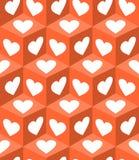 modeller för kub 3d med vit hjärta formar på orange bakgrund Valentindagmotiv för gåvapappersprinting Royaltyfria Bilder