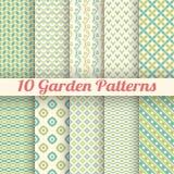 10 modeller för trädgårds- vektor för gräsplan sömlösa Abstrakt begrepp stock illustrationer