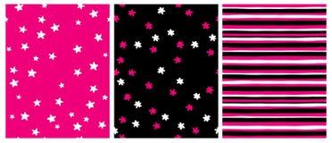 Modeller f?r vektor f?r hand f?r upps?ttningod 3 utdragna geometriska Vita stjärnor på en rosa bakgrund royaltyfri illustrationer