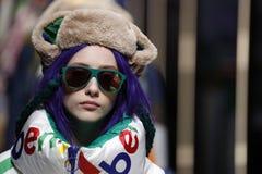 Modeller går landningsbanafinalen på de eniga färgerna av den Benetton showen på Milan Fashion Week Autumn /Winter 2019/20 royaltyfria foton