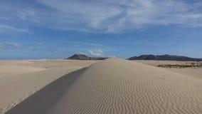 Modeller i sanden i det naturligt parkerar i Corralejo Fuerteventura Spanien arkivbilder