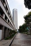 Modeller, linjer och kontraster av byggnader i Singapore royaltyfri foto