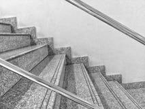 Modeller och raka linjer av sidan av trappan arkivfoto