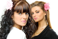 modeller som poserar två royaltyfria bilder