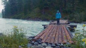 Modellera den utsläppta mannen som fotvandrar på journalfotbron över floden in i till och med den tjocka skogbergfloden Bro flick arkivfilmer
