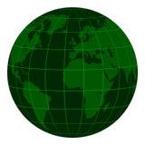 Modellera det Earth jordklotet med kontinenter och ett koordinerat raster, mörker - den gröna matrisen av krisen, jordklotet för  Royaltyfri Bild