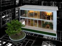 modellera för hus för dator 3d model Arkivfoto