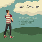 Modellera flygplan som aeromodelling Arkivfoton