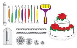 Modellera hjälpmedel för isläggning & att dekorera Sugarpaste, marsipan, Pastillage Hjälpmedel för att dekorera för kaka Vektor f stock illustrationer