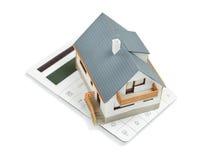 Modellera House och arkitektoniska plan för tangenter som överst isoleras på whit Royaltyfri Fotografi