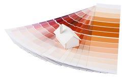 Modellera huset färgar på paletten Arkivfoto