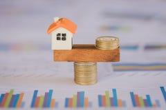 Modellera huset, och pengarmynt som balanserar på en gungbräde, egenskapsfastighetsinvesteringidéer, begrepp av riskhuset, inteck arkivbilder