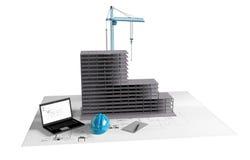 Modellera huset under konstruktion, datoren, hjälmen, visualization 3D Arkivfoton