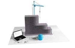 Modellera huset under konstruktion, datoren, hjälmen, visualization 3D Arkivbild