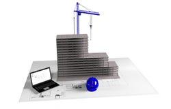 Modellera huset under konstruktion, datoren, hjälmen, visualization 3D Arkivbilder