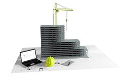 Modellera huset under konstruktion, datoren, hjälmen, visualization 3D Arkivfoto